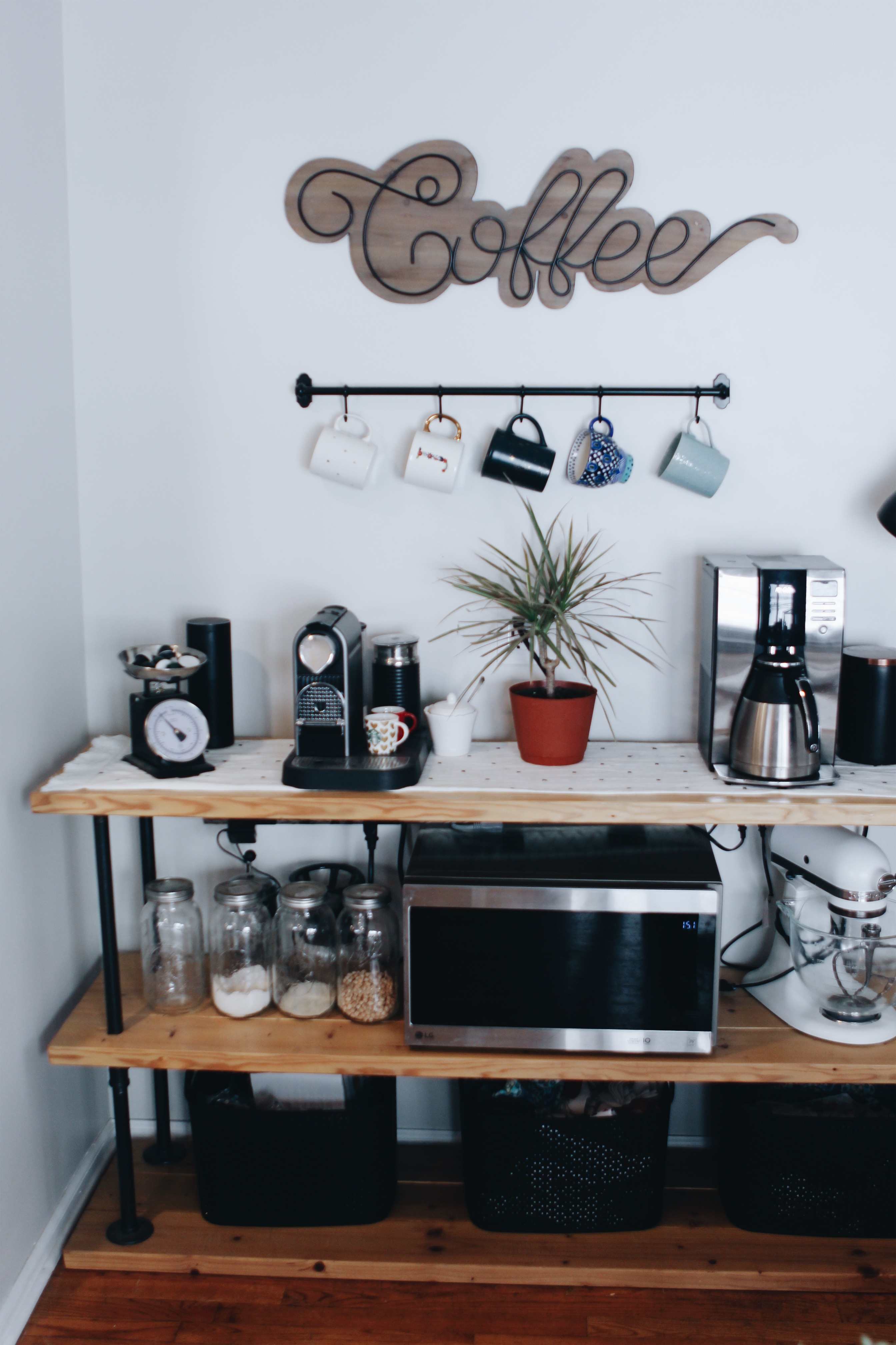 DIY Modern Farmhouse Industrial Coffee Bar for Modern Farmhouse Style