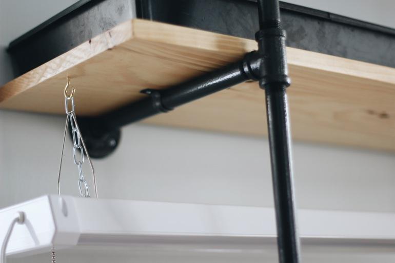 DIY Black Pipe Shelf with Shop Lights