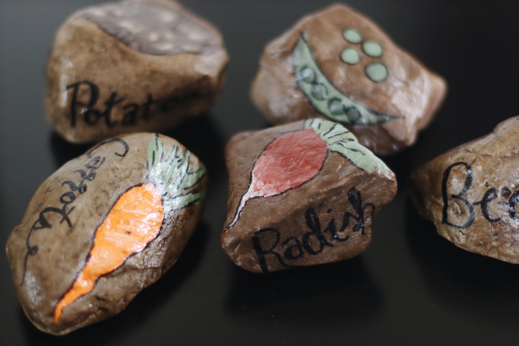 DIY Painted Rocks as Garden Markers. Inexpensive Garden Marker Tutorial