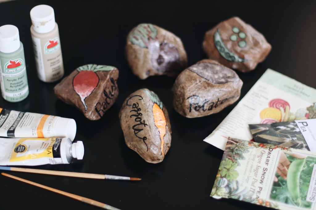 Painted Rocks as Garden Markers. Inexpensive Garden Marker Tutorial