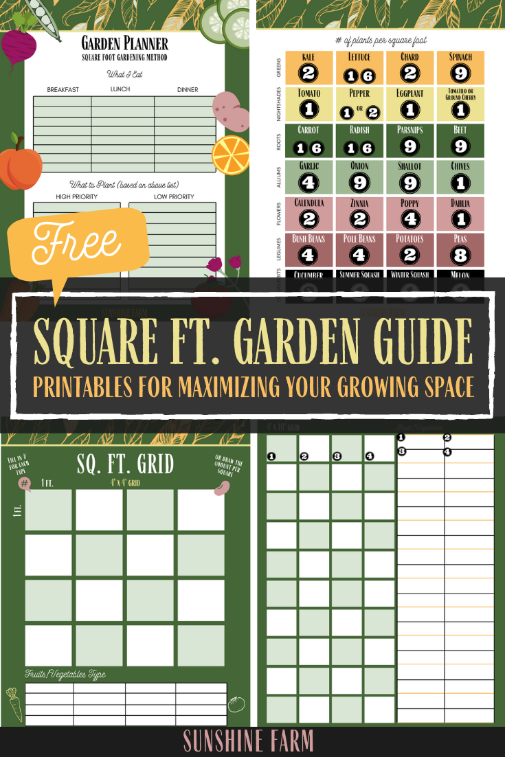 square foot gardening method guide free printables