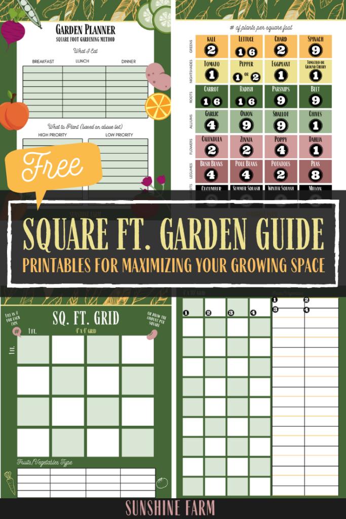 square foot gardening method guide free printables